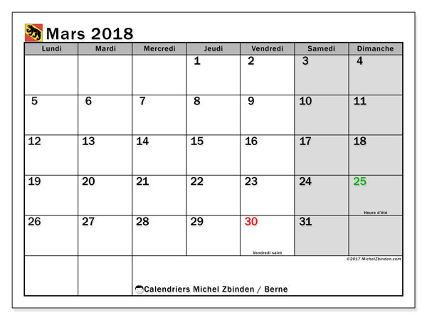Calendrier mars 2018, avec les jours fériés du Canton de Berne. Planificateur à imprimer gratuit.