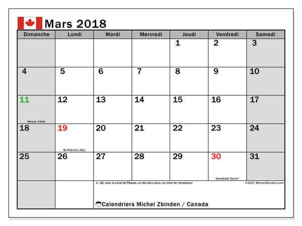 Calendrier mars 2018, avec les jours fériés du Canada. Calendrier à imprimer gratuit.