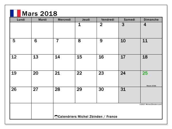 Calendrier mars 2018, avec les jours fériés de la France.. Calendrier à imprimer gratuit.