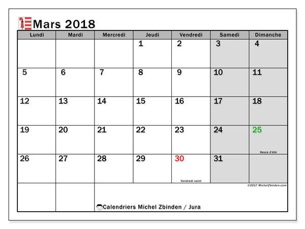 Calendrier à imprimer gratuit mars 2018, avec les jours fériés du Canton du Jura