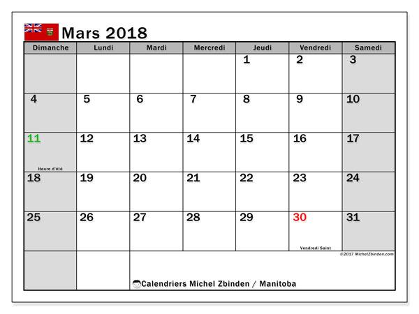 Calendrier mars 2018, avec les jours fériés du Manitoba. Calendrier imprimable gratuit.