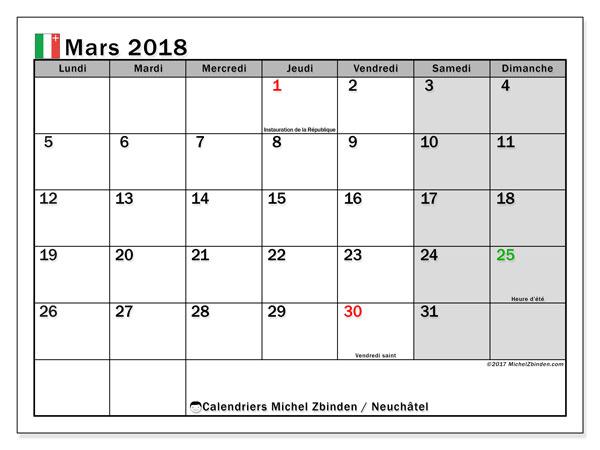 Calendrier mars 2018, avec les jours fériés du Canton de Neuchâtel. Planificateur à imprimer gratuit.
