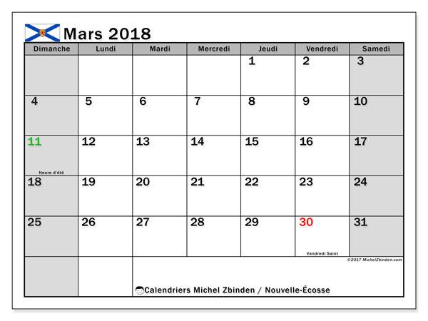 Calendrier mars 2018, avec les jours fériés de la Nouvelle-Écosse. Planificateur à imprimer gratuit.