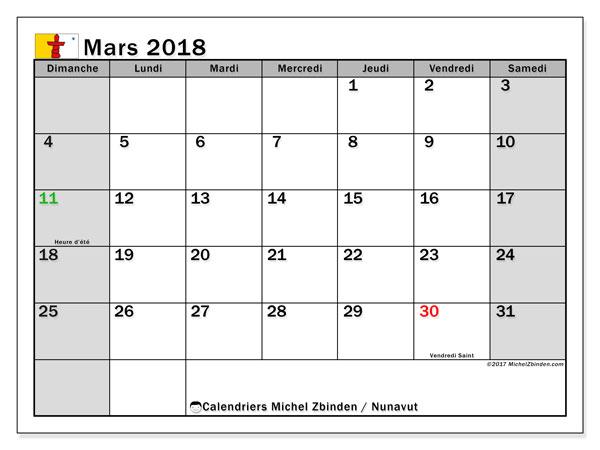Calendrier mars 2018, avec les jours fériés du Nunavut. Calendrier gratuit à imprimer.