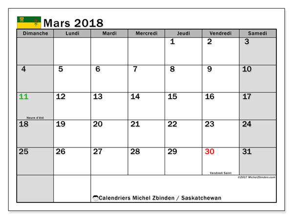 Calendrier mars 2018, avec les jours fériés de la Saskatchewan. Calendrier mensuel à imprimer gratuit.