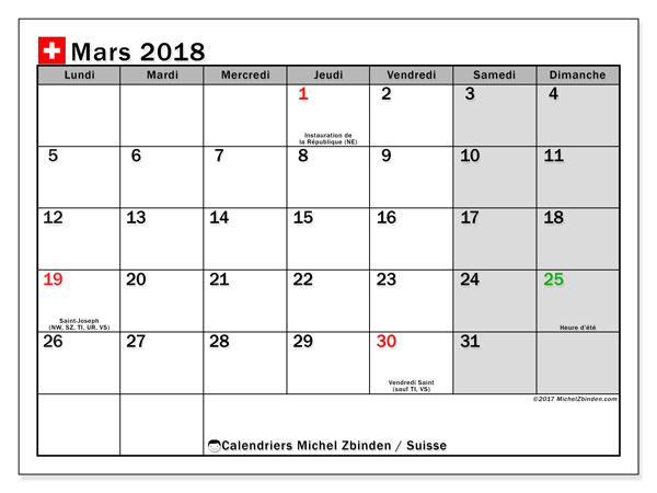 Calendrier à imprimer gratuit mars 2018, avec les jours fériés de la Suisse