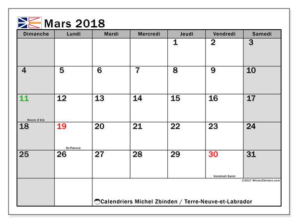 Calendrier mars 2018, avec les jours fériés de Terre-Neuve-et-Labrador. Calendrier gratuit à imprimer.