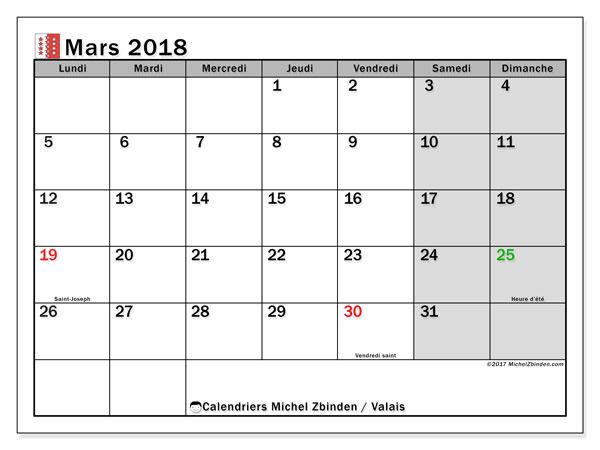 Calendrier mars 2018, avec les jours fériés du Canton du Valais. Planificateur à imprimer gratuit.