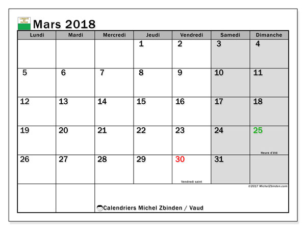Calendrier mars 2018, avec les jours fériés du Canton de Vaud. Calendrier mensuel à imprimer gratuit.