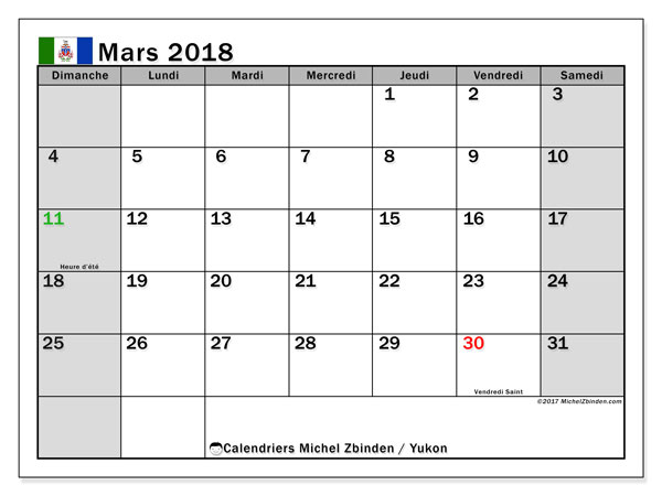 Calendrier mars 2018, avec les jours fériés du Yukon. Calendrier pour le mois à imprimer gratuit.