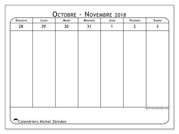 Calendrier novembre 2018 (43-1DS). Calendrier pour la semaine à imprimer gratuit.