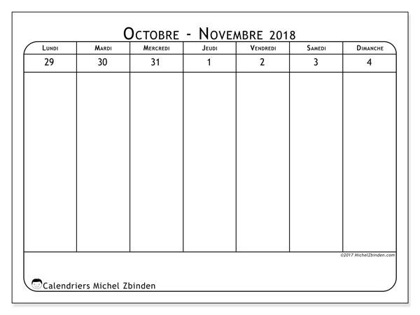 Calendrier novembre 2018 (43-1LD). Calendrier pour la semaine à imprimer gratuit.
