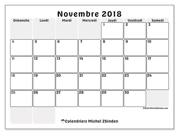 Calendrier novembre 2018 (44DS). Calendrier gratuit à imprimer.