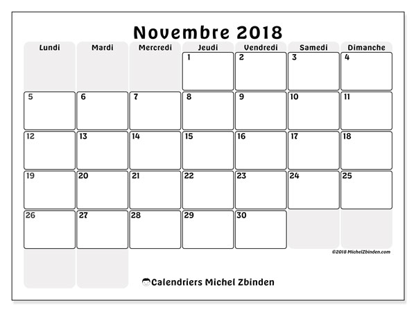 Calendrier novembre 2018 - 44LD. Calendrier gratuit à imprimer.