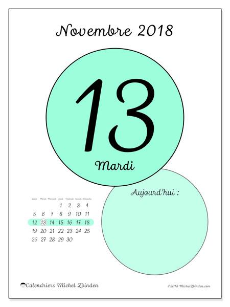 Calendrier novembre 2018 (45-13LD). Calendrier pour la journée à imprimer gratuit.