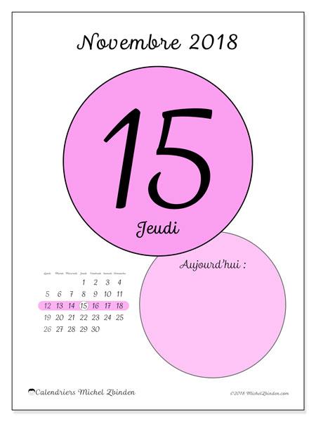Calendrier novembre 2018 (45-15LD). Calendrier pour la journée à imprimer gratuit.