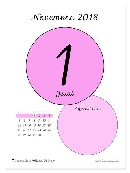 Calendrier novembre 2018 (45-1LD). Calendrier pour la journée à imprimer gratuit.