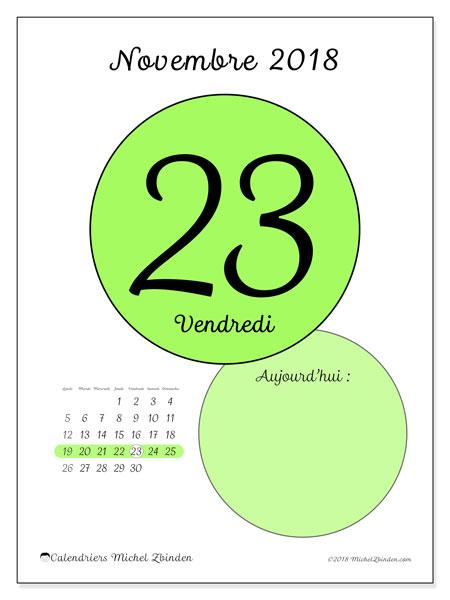 Calendrier novembre 2018 (45-23LD). Calendrier pour la journée à imprimer gratuit.