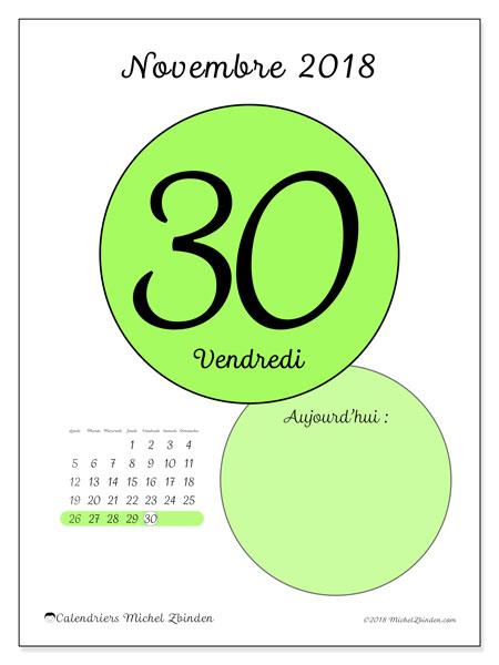Calendrier novembre 2018 (45-30LD). Calendrier pour la journée à imprimer gratuit.