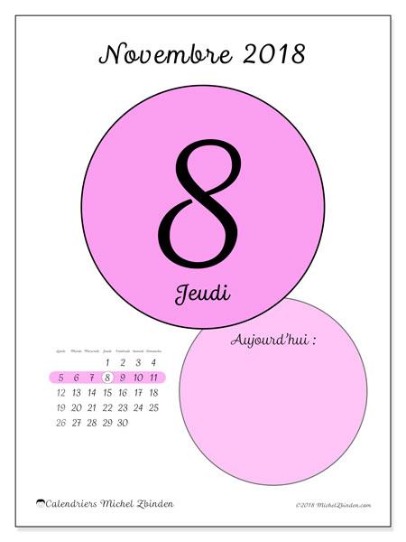 Calendrier novembre 2018 (45-8LD). Calendrier pour la journée à imprimer gratuit.