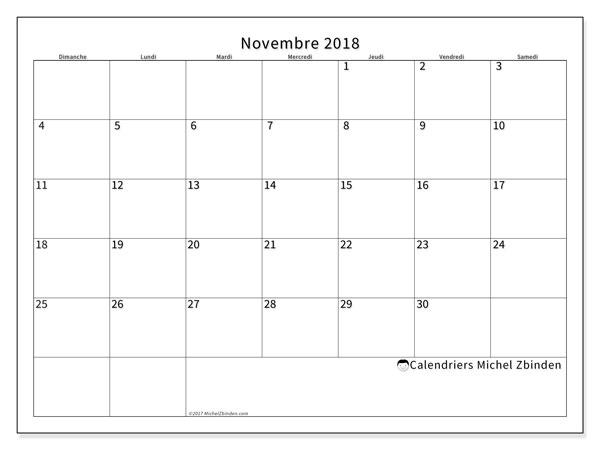 Calendrier novembre 2018 (53DS). Calendrier imprimable gratuit.