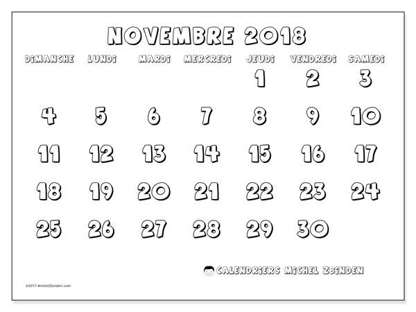 Calendrier novembre 2018 (56DS). Planificateur à imprimer gratuit.