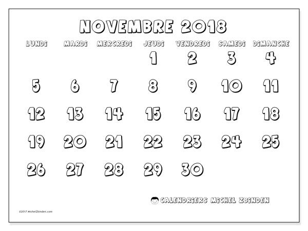 Calendrier novembre 2018 (56LD). Calendrier gratuit à imprimer.