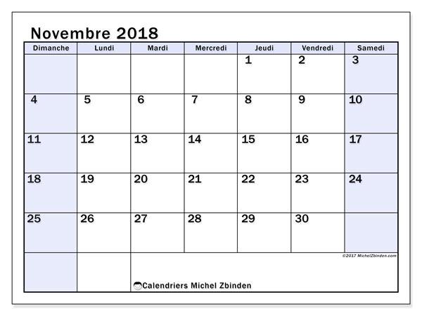 Calendrier novembre 2018 (57DS). Calendrier à imprimer gratuit.