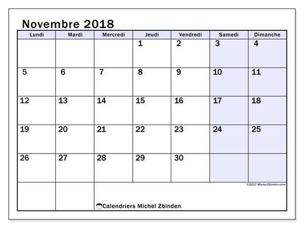 Calendrier novembre 2018 - 57LD. Calendrier à imprimer gratuit.