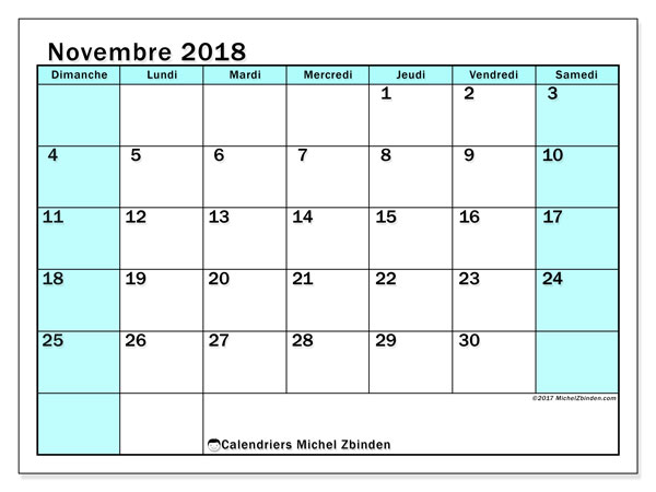 Calendrier novembre 2018 (59DS). Planificateur à imprimer gratuit.