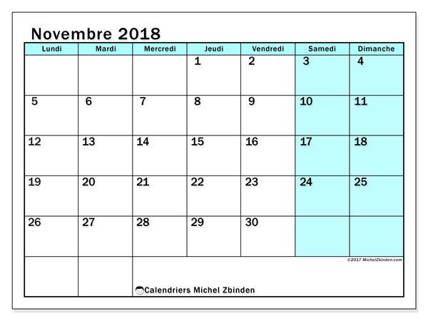Calendrier novembre 2018 (59LD). Calendrier pour le mois à imprimer gratuit.