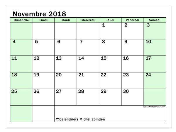 Calendrier novembre 2018 (60DS). Organisateur à imprimer gratuit.
