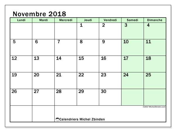 Calendrier novembre 2018 (60LD). Calendrier pour le mois à imprimer gratuit.