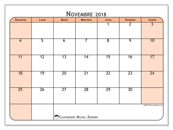 Calendrier novembre 2018 (61DS). Calendrier gratuit à imprimer.