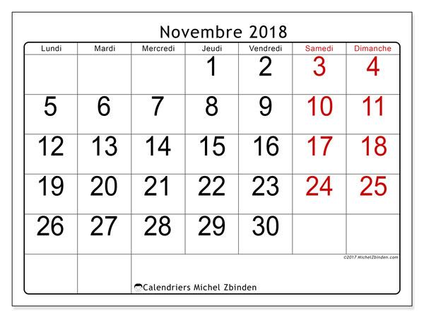 Calendrier novembre 2018 - 62LD. Planificateur à imprimer gratuit.