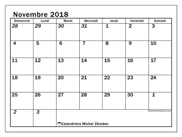 Calendrier novembre 2018 (66DS). Organisateur à imprimer gratuit.