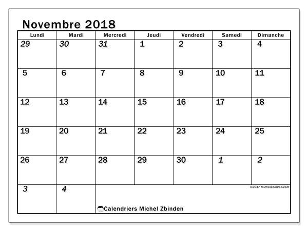 Calendrier  novembre 2018, 66LD