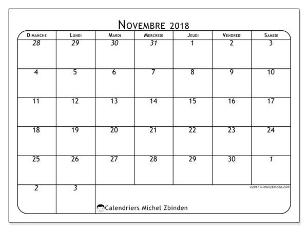 Calendrier novembre 2018 (67DS). Calendrier imprimable gratuit.