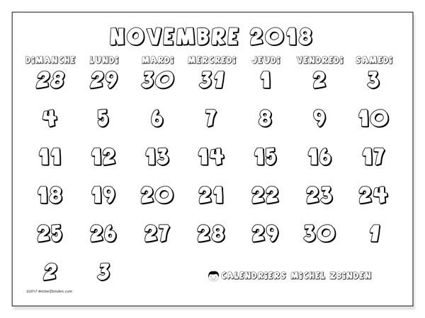 Calendrier novembre 2018 (71DS). Planificateur à imprimer gratuit.