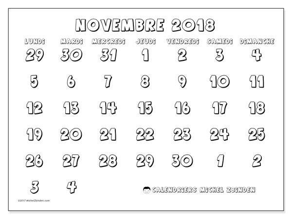 Calendrier novembre 2018 (71LD). Planificateur à imprimer gratuit.