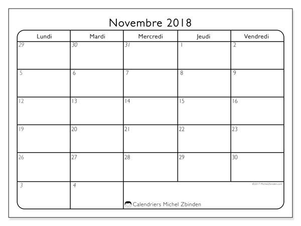 Calendrier novembre 2018 - 74LD. Calendrier mensuel à imprimer gratuit.