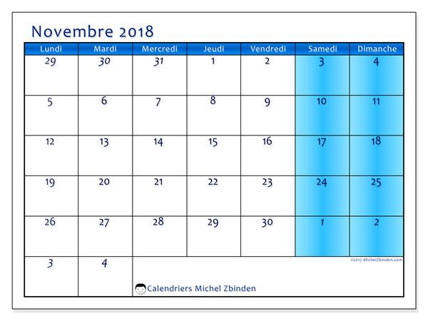 Calendrier novembre 2018 (75LD). Calendrier pour le mois à imprimer gratuit.