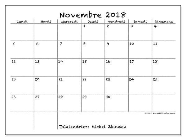 Calendrier novembre 2018 (77LD). Calendrier pour le mois à imprimer gratuit.