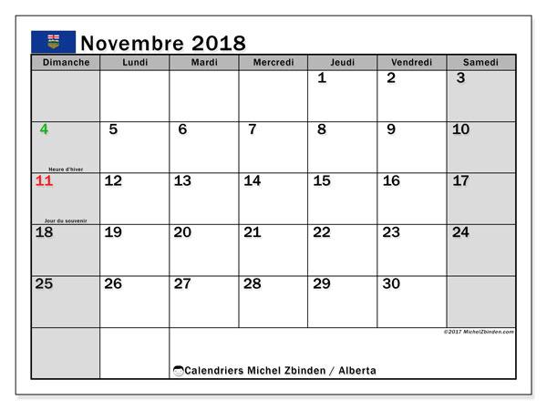 Calendrier novembre 2018, avec les jours fériés de l'Alberta. Calendrier pour le mois à imprimer gratuit.