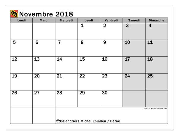 Calendrier novembre 2018, avec les jours fériés du Canton de Berne. Calendrier imprimable gratuit.