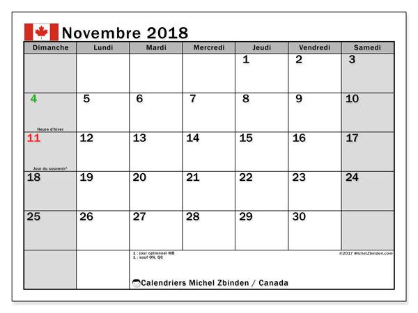 Calendrier novembre 2018, avec les jours fériés du Canada. Calendrier pour le mois à imprimer gratuit.