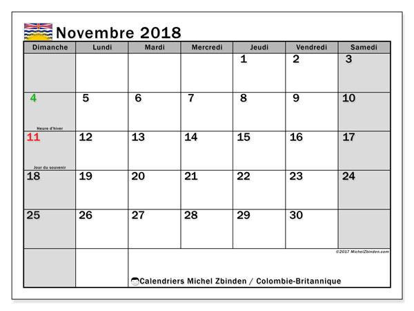 Calendrier novembre 2018, avec les jours fériés de la Colombie-Britannique. Planificateur à imprimer gratuit.
