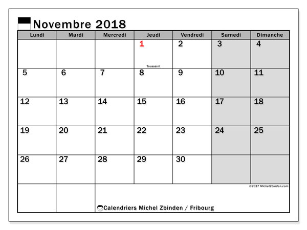 Calendrier Fribourg, 2018