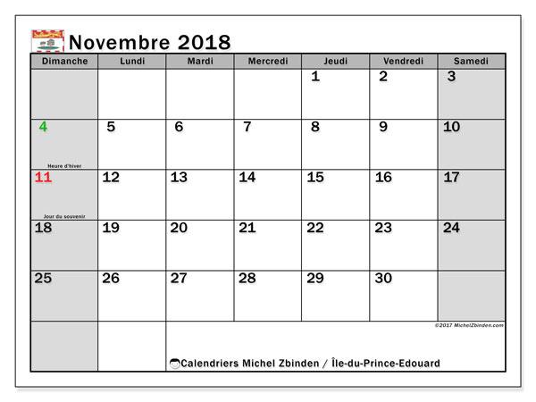 Calendrier novembre 2018, avec les jours fériés de l'Île-du-Prince-Edouard. Calendrier pour le mois à imprimer gratuit.