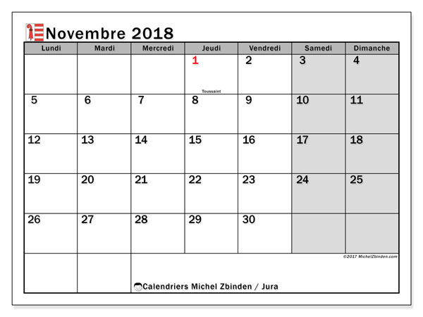 Calendrier novembre 2018, avec les jours fériés du Canton du Jura. Planificateur à imprimer gratuit.